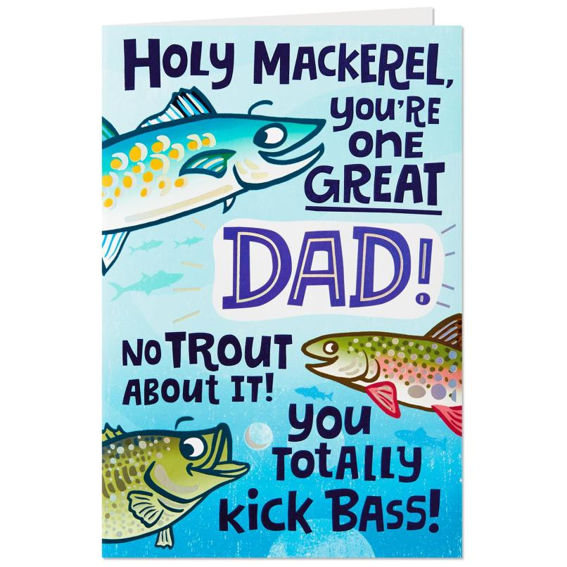 Holy Mackerel Fishing Funny Birthday Card For Dad Greeting Cards