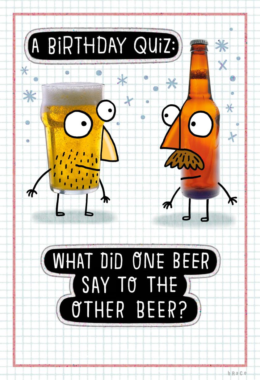 Beer Birthday Quiz Funny Birthday Card  Greeting Cards