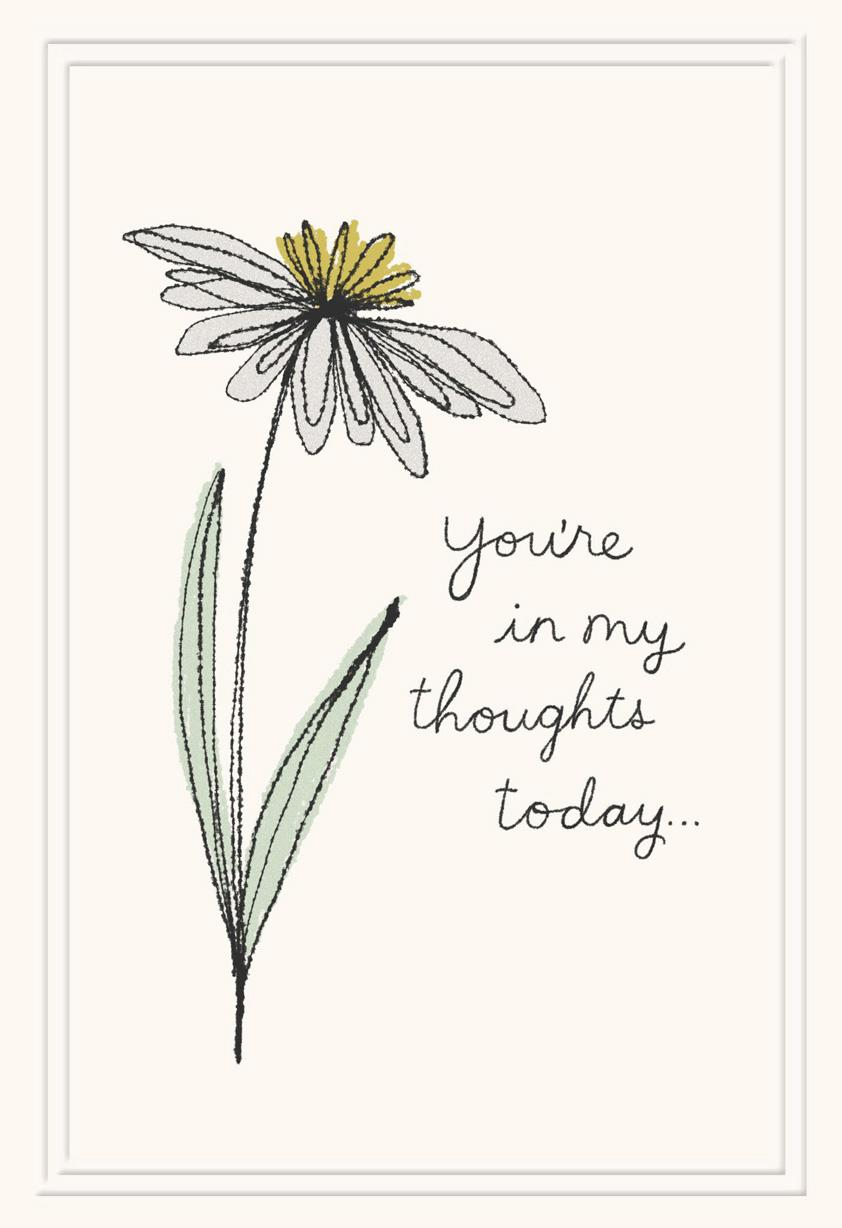 Single Flower You're Always in My Thoughts Sympathy Card