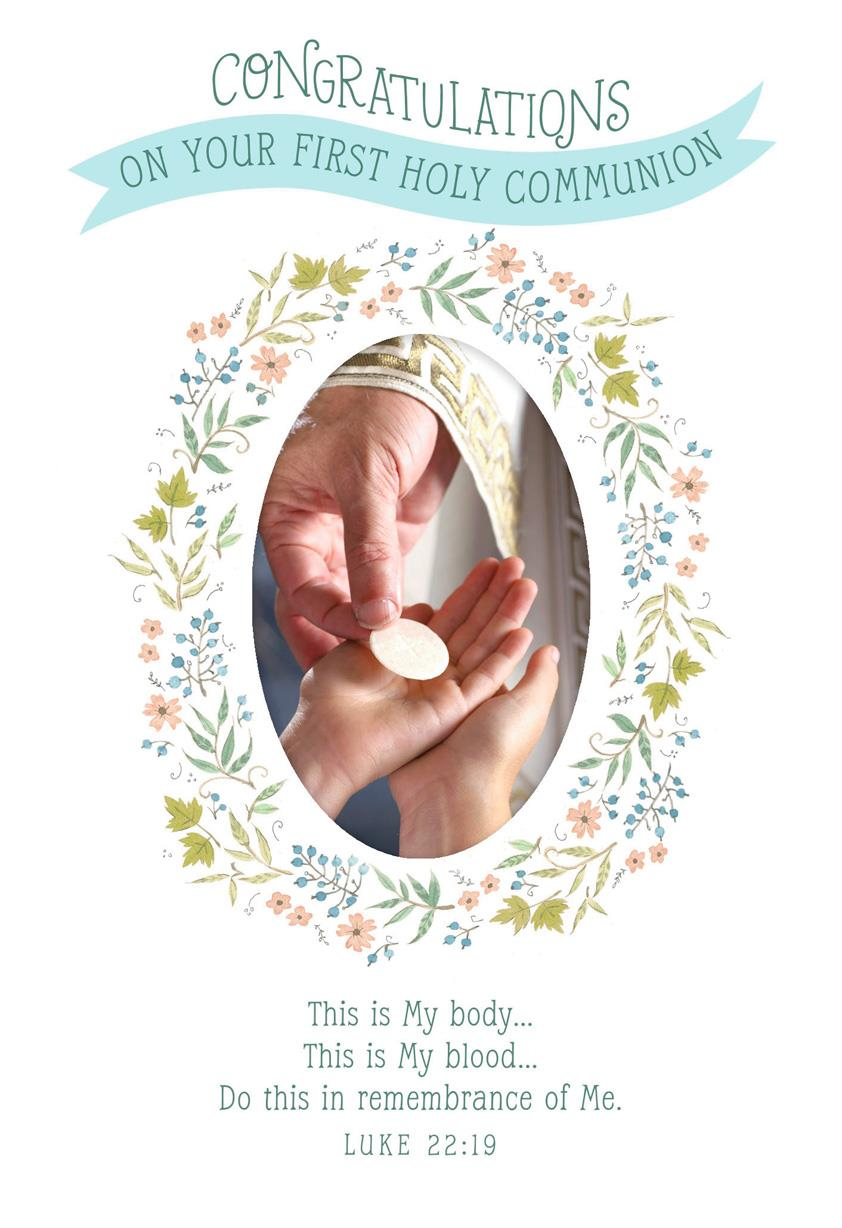 Wreath Of Flowers First Communion Card Greeting Cards