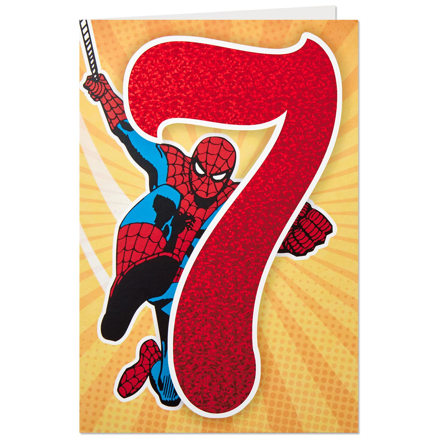 Marvel Spider Man 7th Birthday Card Greeting Cards