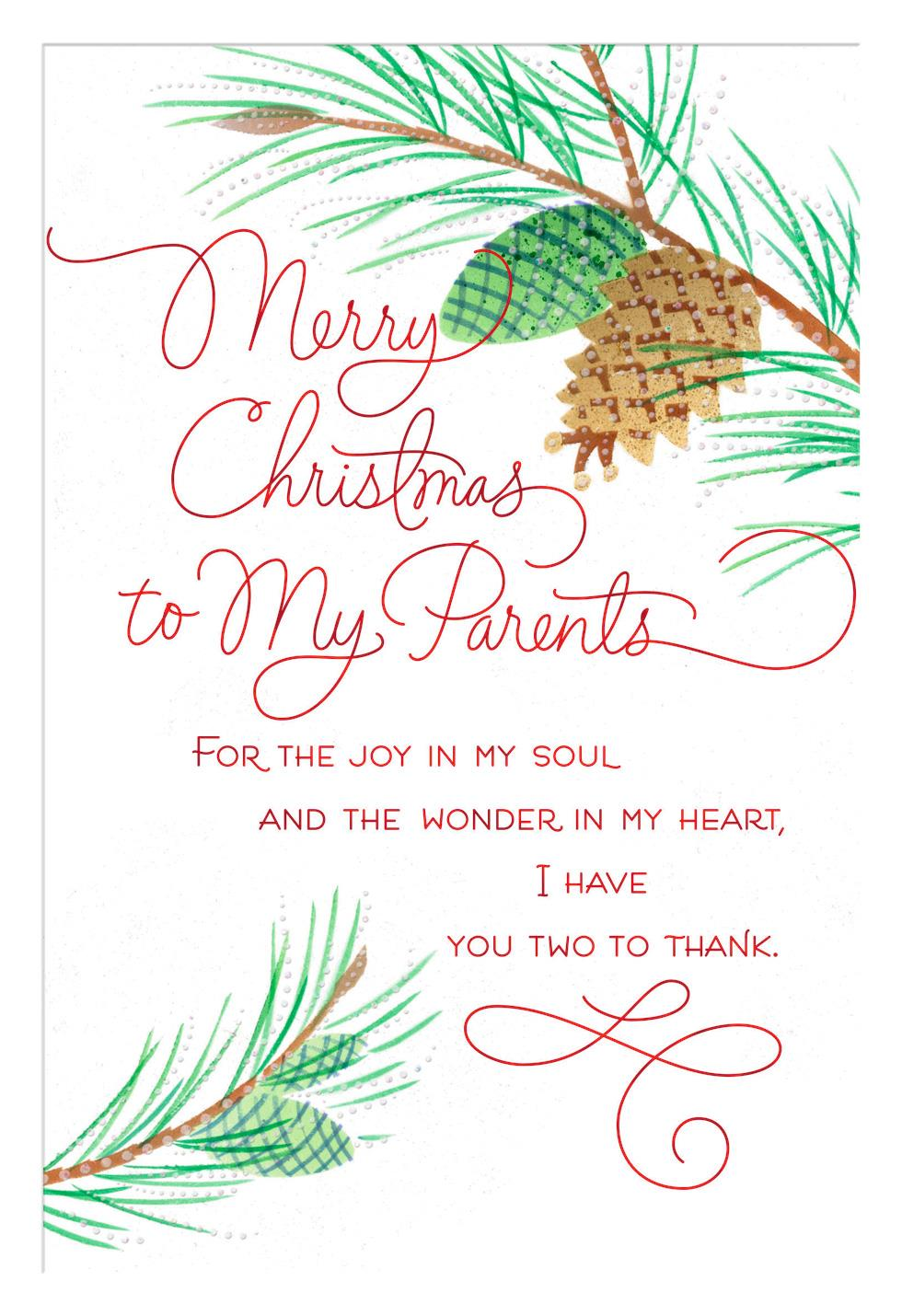 Joy In My Soul Christmas Card For Parents Greeting Cards