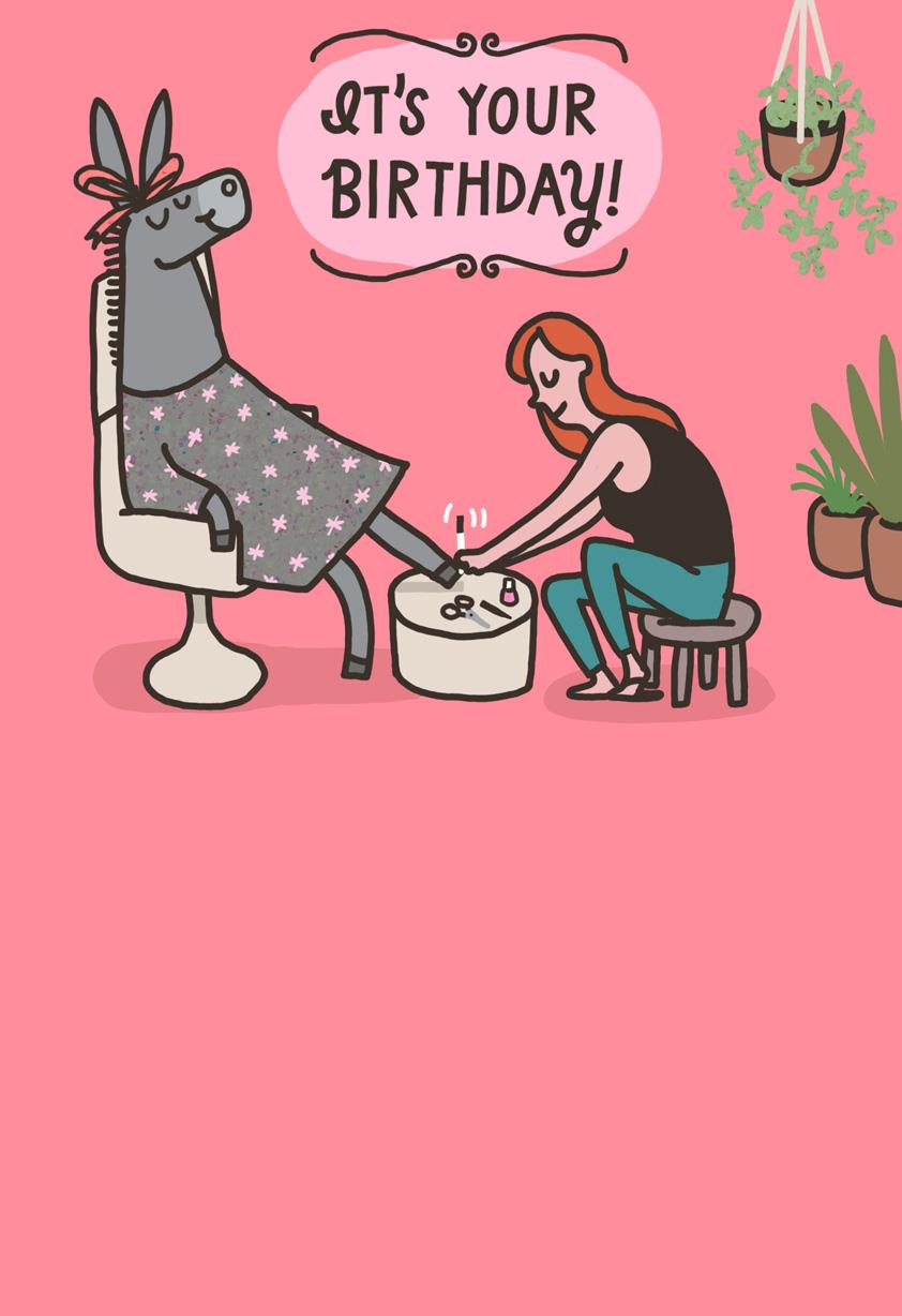 Donkey Pedicure Funny Birthday Card Greeting Cards