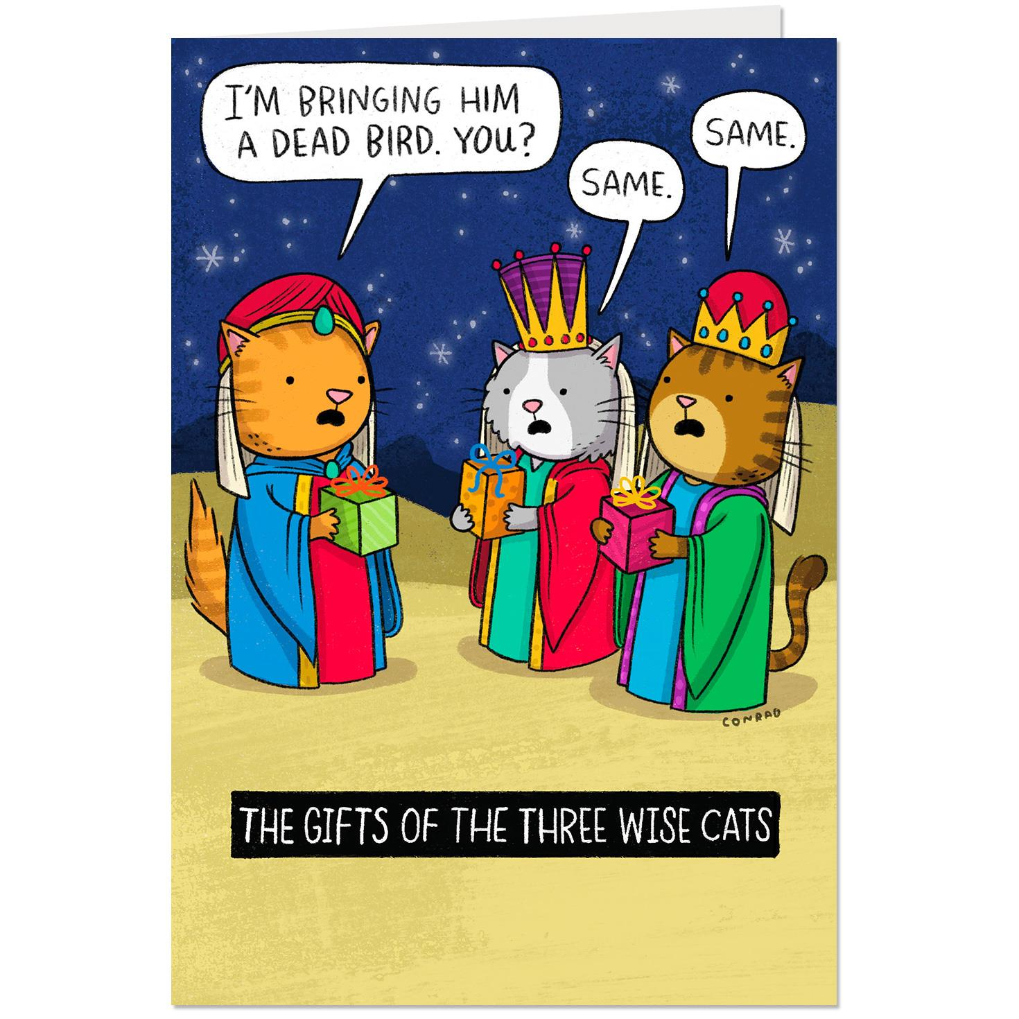 The Three Wise Cats Funny Christmas Card Greeting Cards