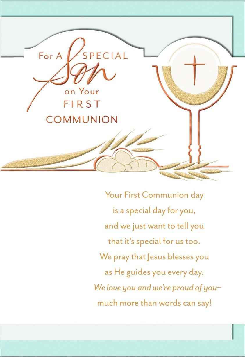 Rich Blessings Son First Communion Greeting Cards