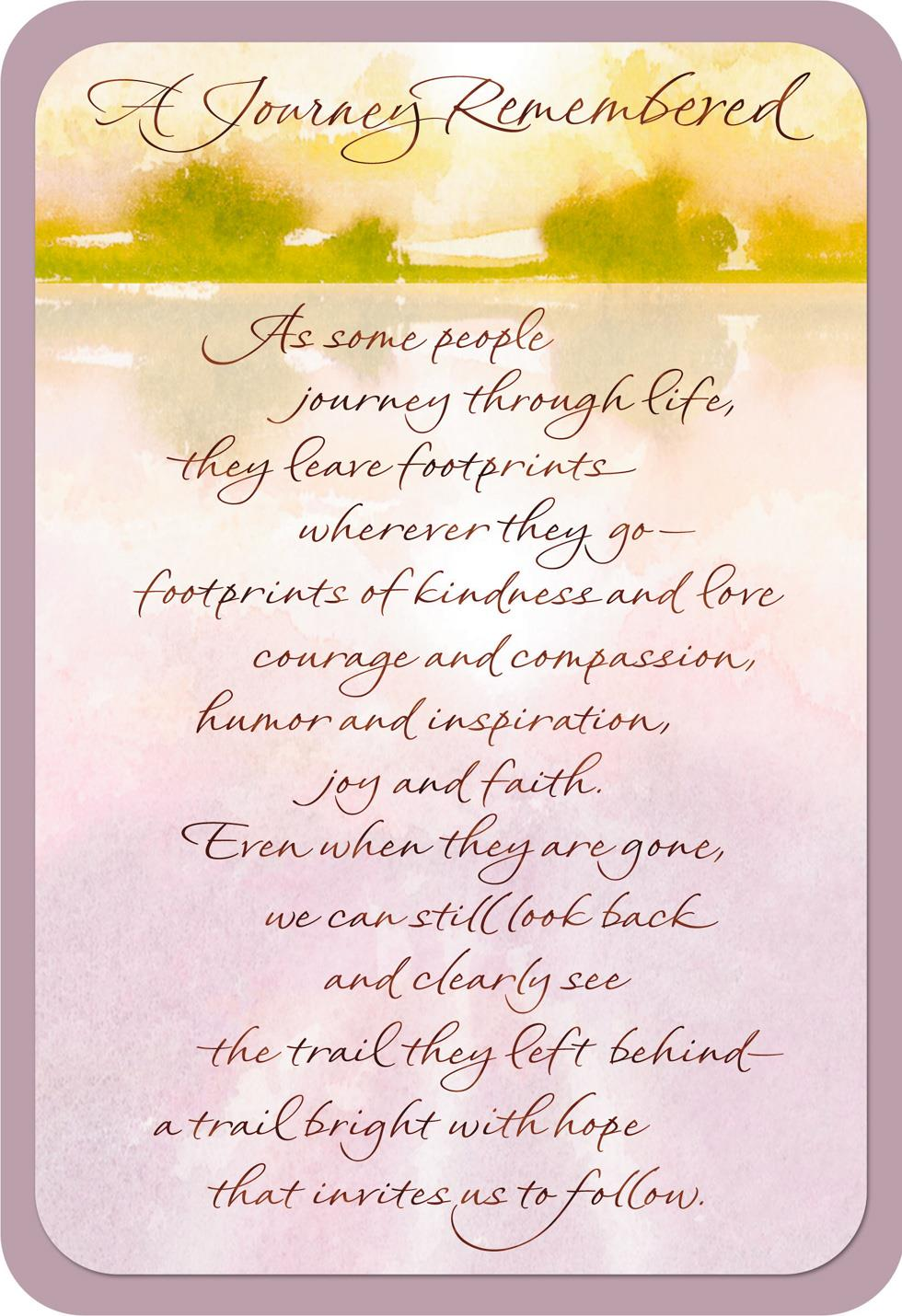 A Journey Remembered Religious Sympathy Card  Greeting