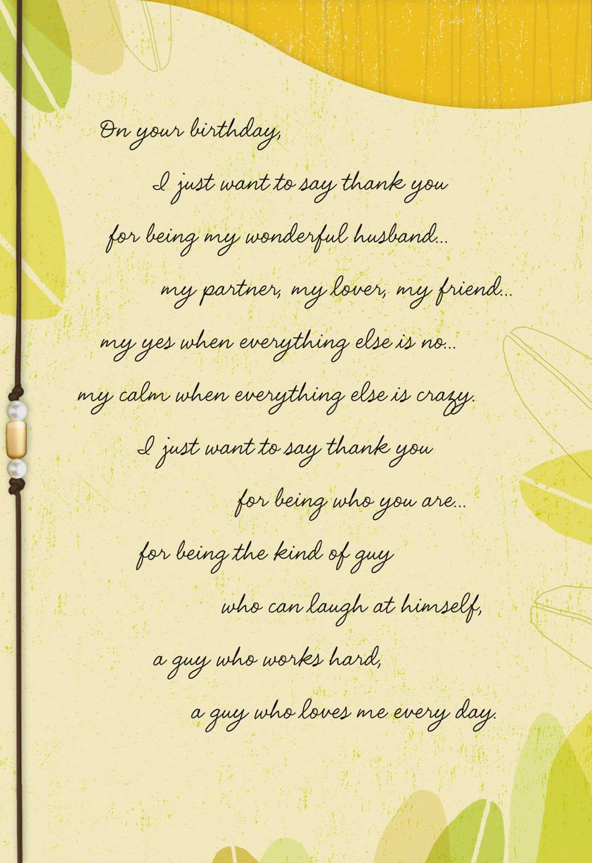 Thank You For Being You Birthday Card For Husband