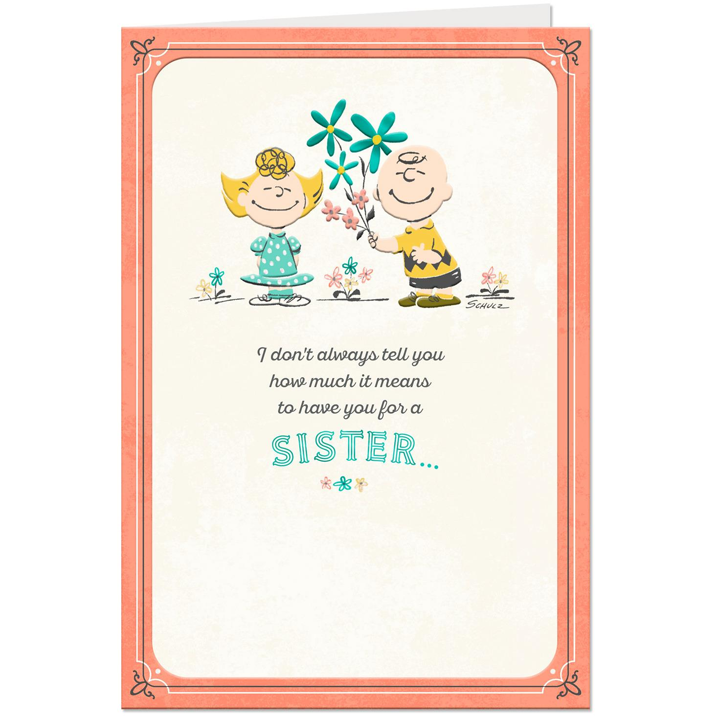 Peanuts® Charlie Brown And Sally Birthday Card For Sister