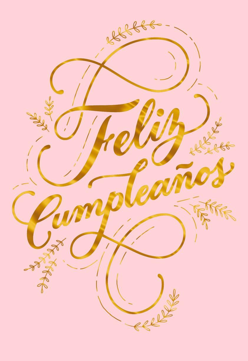 Feliz Cumpleaños Gold Script Spanish Language Birthday