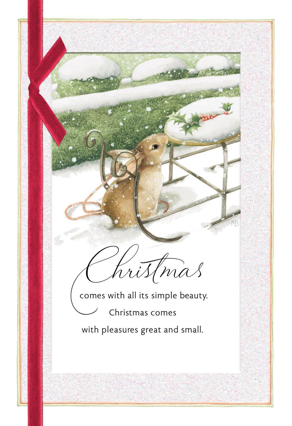 Marjolein Bastin Snowy Bunny Christmas Card Greeting