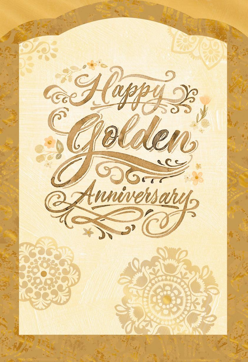 Golden Wishes 50th Anniversary Card  Greeting Cards