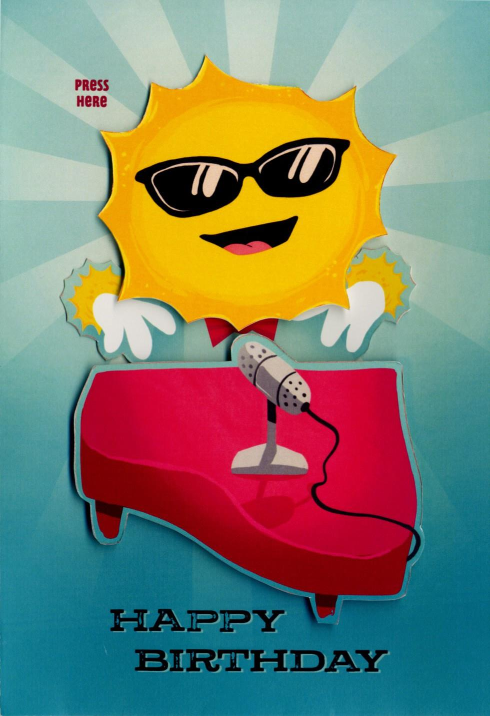 Sun Musical Birthday Card With Motion Greeting Cards