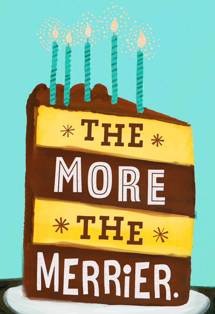The More The Merrier Cake Birthday Card Greeting Cards