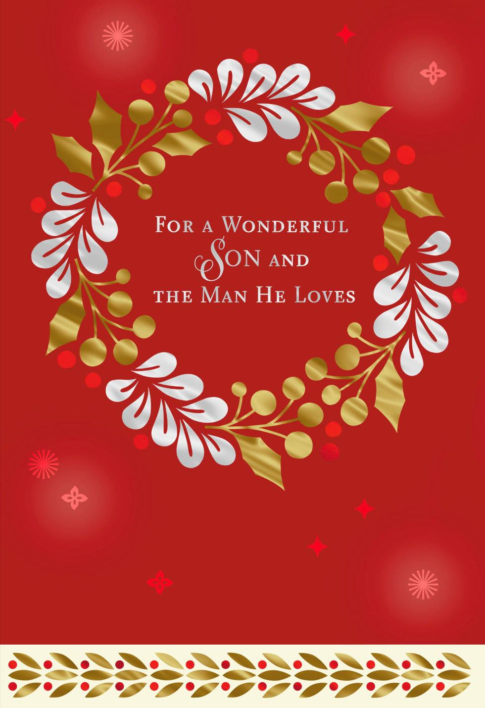 For A Wonderful Son And The Man He Loves Christmas Card