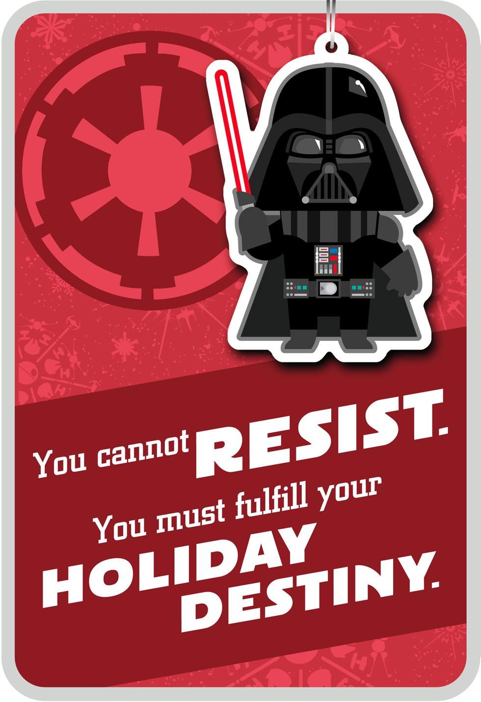 Merry Side Darth Vader Christmas Card With Ornament End