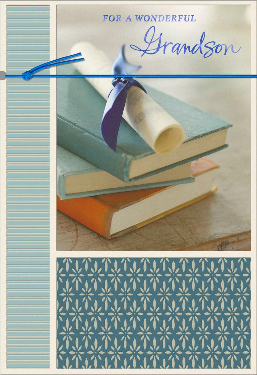 Stack Of Books Graduation Card For Grandson Greeting