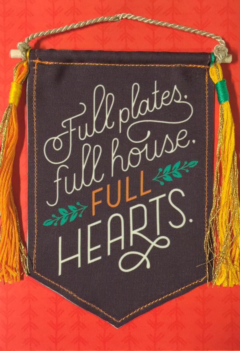 Full Hearts Banner Thanksgiving Card Greeting Cards