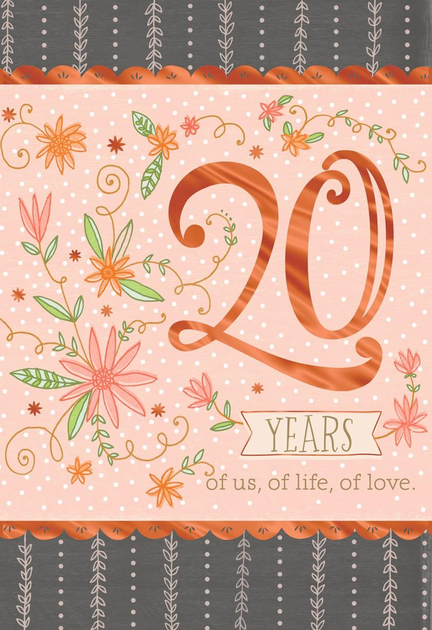Pink Floral 20th Anniversary Card Greeting Cards Hallmark