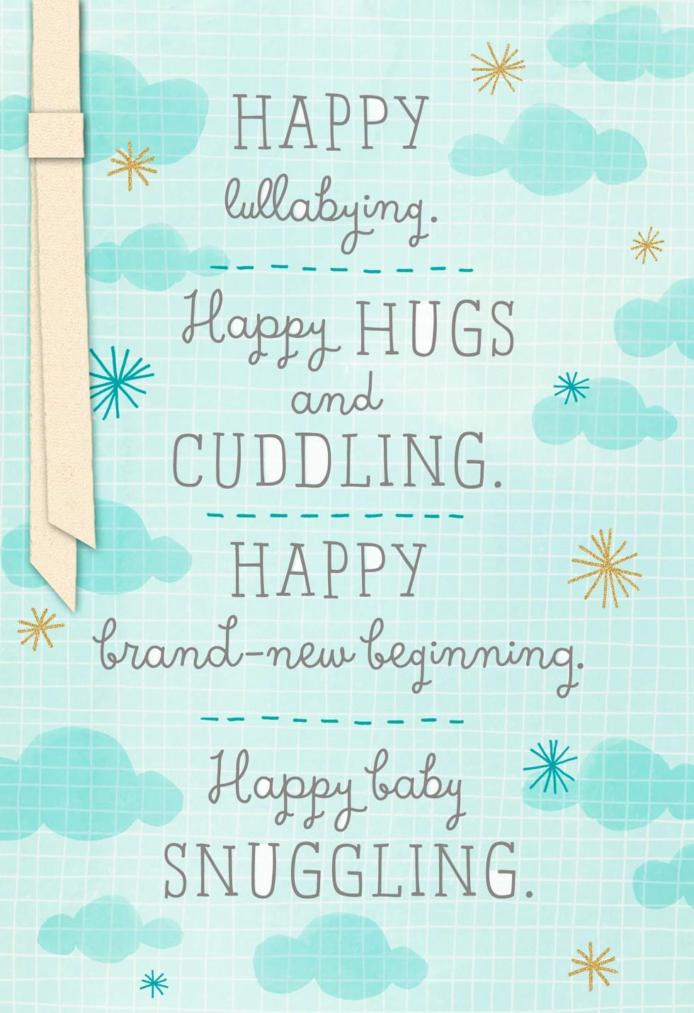 Light Blue Clouds New Baby Boy Congratulations Card