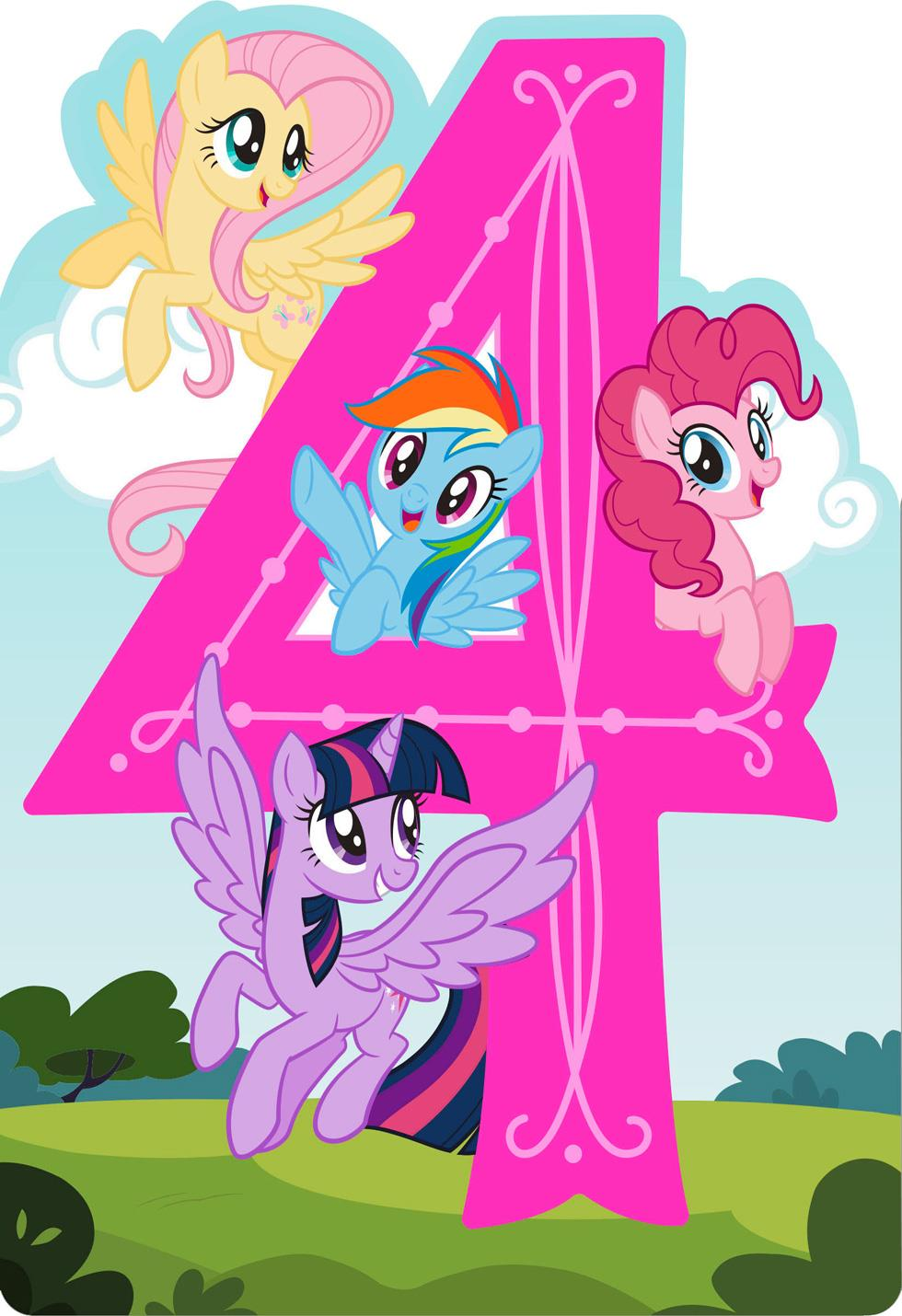 My Little Pony Happy Spirit Musical 4th Birthday Card