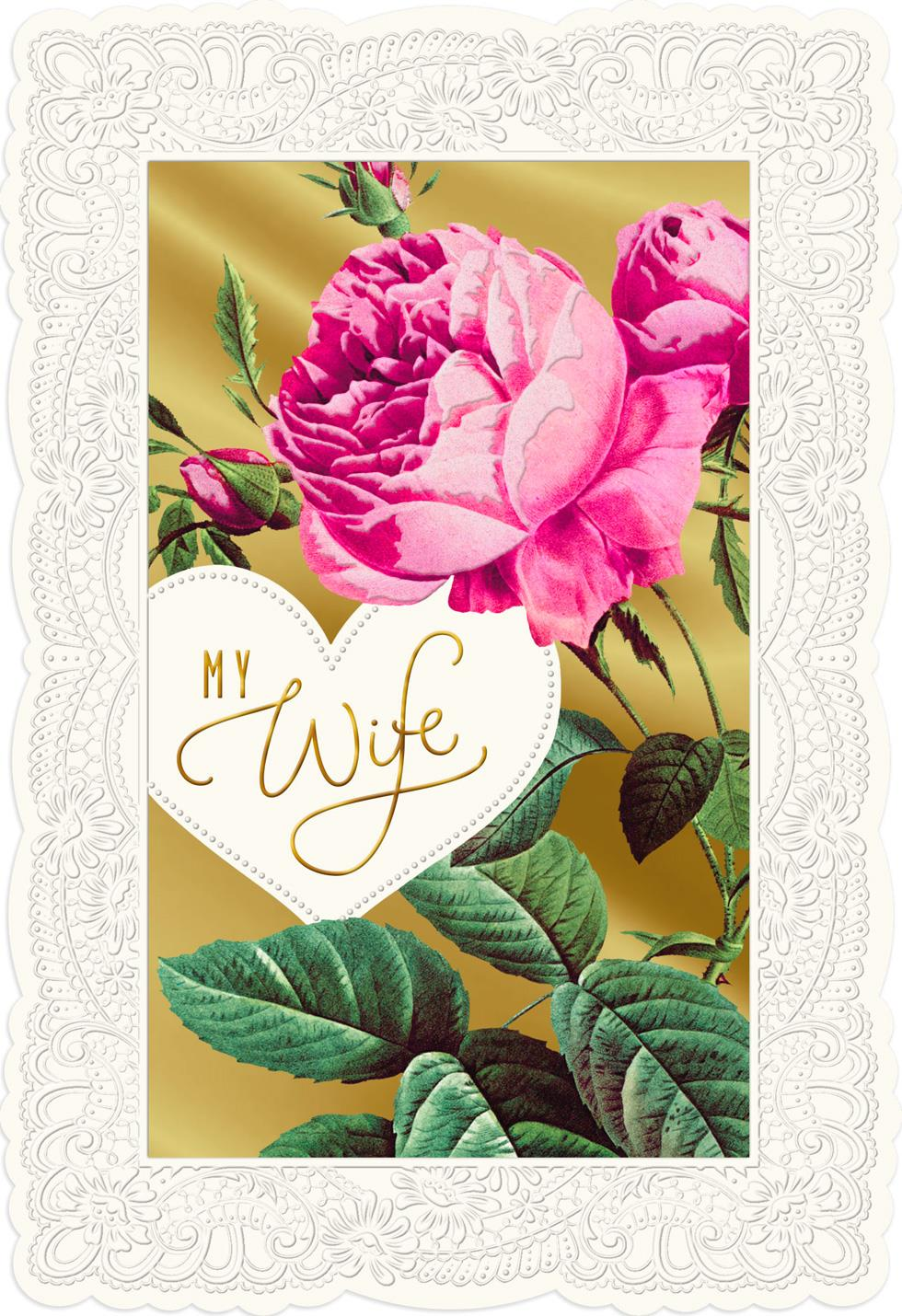 Pink Peony Flowers Valentine's Day Card For Wife