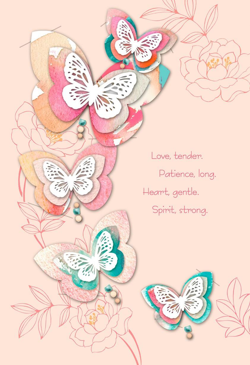 Laser Cut Butterfly Mothers Day Card Greeting Cards