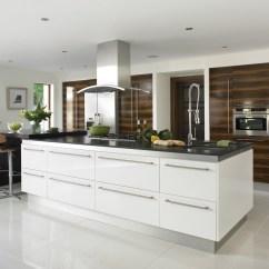 Contemporary Kitchen Island Gold Gloss White Kitchens Hallmark Designs