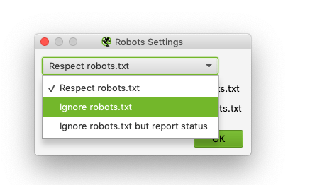 Screenshot of Screaming Frog Robots.txt Settings indicating Ignore robots.txt