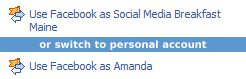Switch between personal and business Facebook profiles