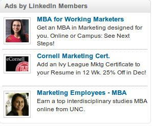 LinkedIn Advertisements on screen