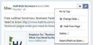 Pinning Facebook posts