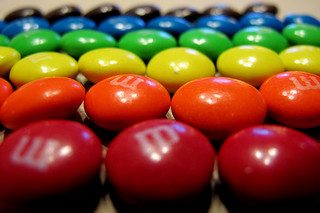 Candies segmented by color