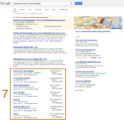 7 Pack search result listing for restaurants in Boston