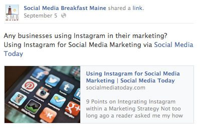 Example of Facebook link preview