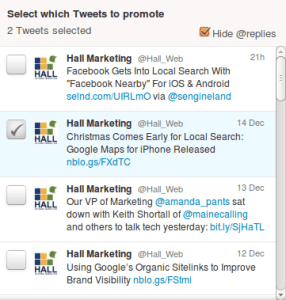 Promoted Tweets Options