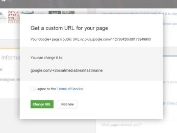 Confirming a custom URL for your Google Plus Page