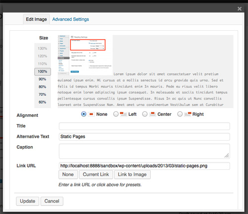 Image Edit Screen