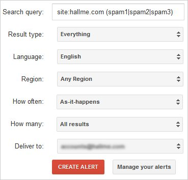 Google Alerts for Spam Management
