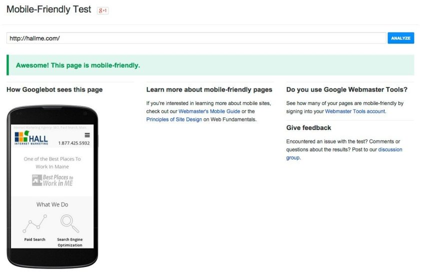 This is an example of a site that passes the Google Mobile test.