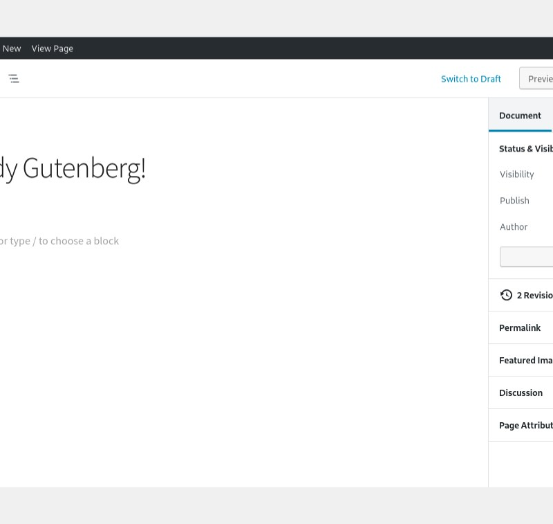 The back end of the new Gutenberg block editor that's a part of WordPress 5.0.