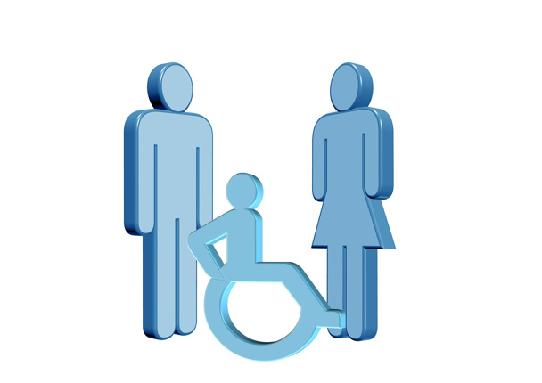 male female and person in wheelchair stick figures