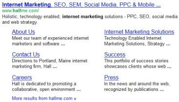 example of organic sitelinks