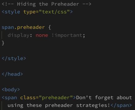 Preheader code example