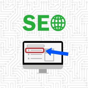 seo graphic of computer with arrow