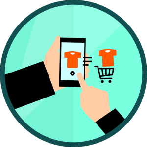 digital illustration of man on mobile phone, placing shirt in shopping cart, e-commerce illustration