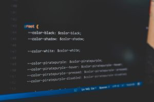 white web development code text on a black background