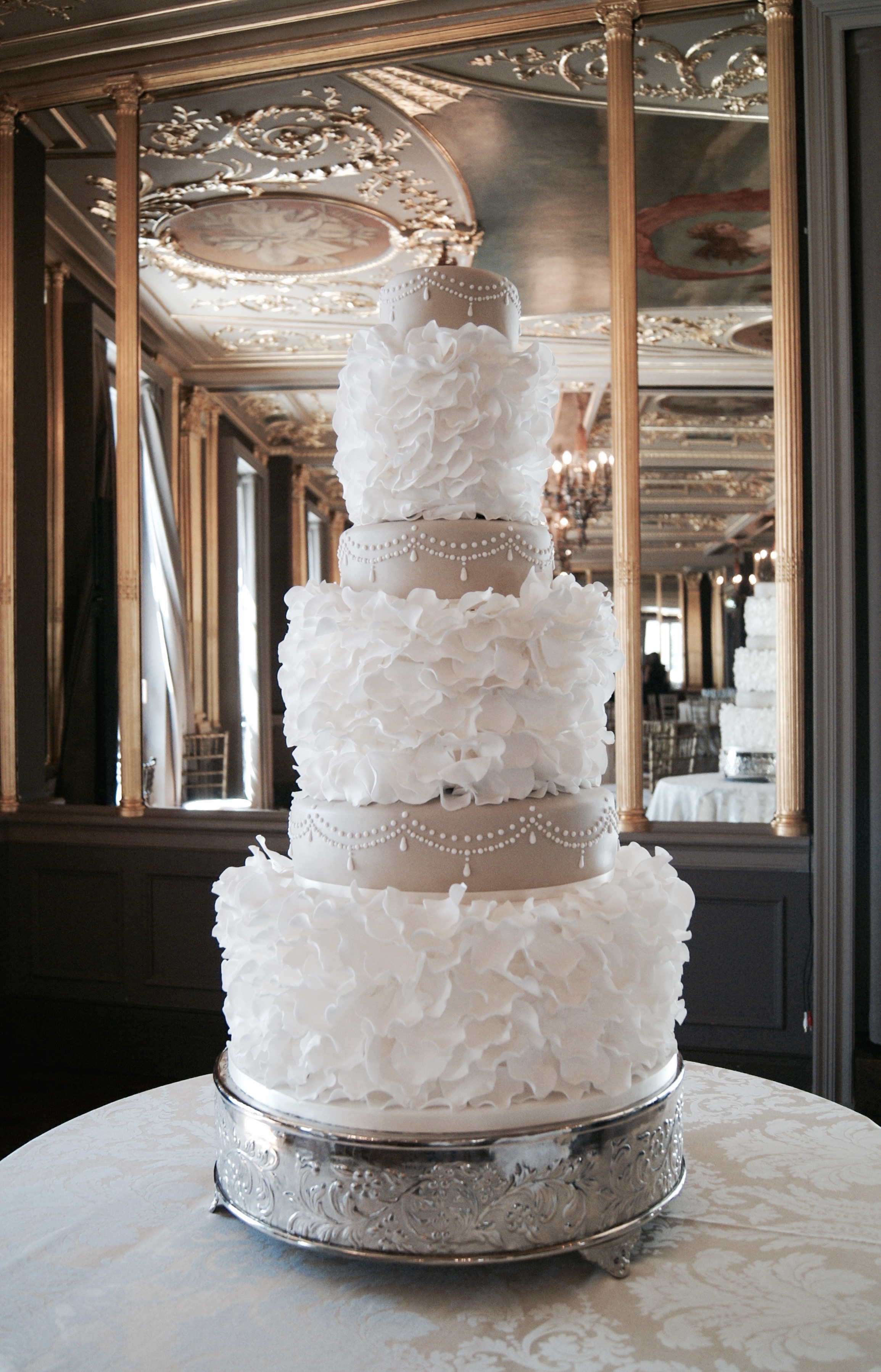 Wedding Cake Frills at The Hotel Cafe Royal  Hall of Cakes