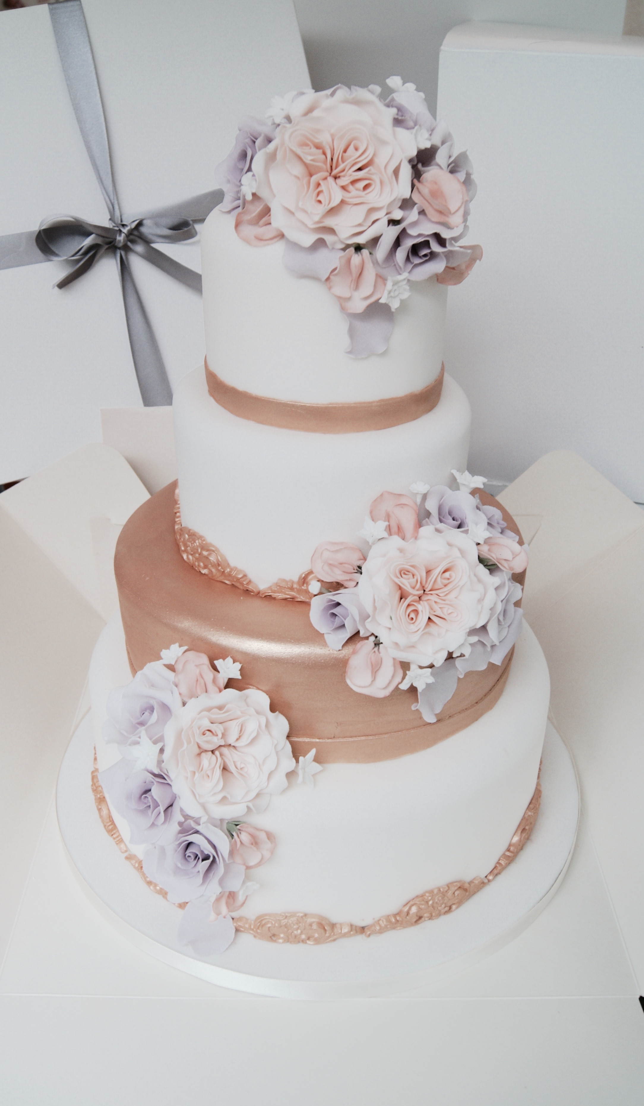 Rose Gold Peach  Lilac Wedding Cake  Hall of Cakes