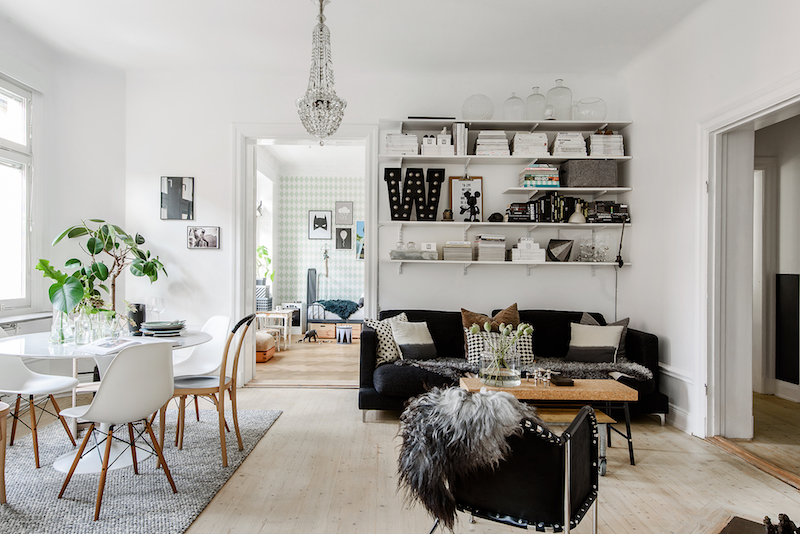 Black And White Home Decor Meets Cozy Social Floor Plan