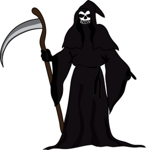 Grim Reaper Clipart Image: Death Comes Visiting on Halloween in the Form of the Grim Reaper